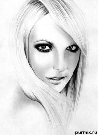 Фото портрет Бритни Спирс простым карандашом