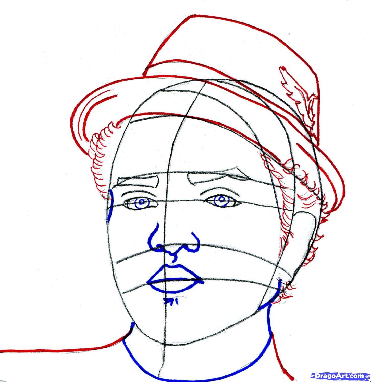 Рисуем портрет Бруно Марс - шаг 7