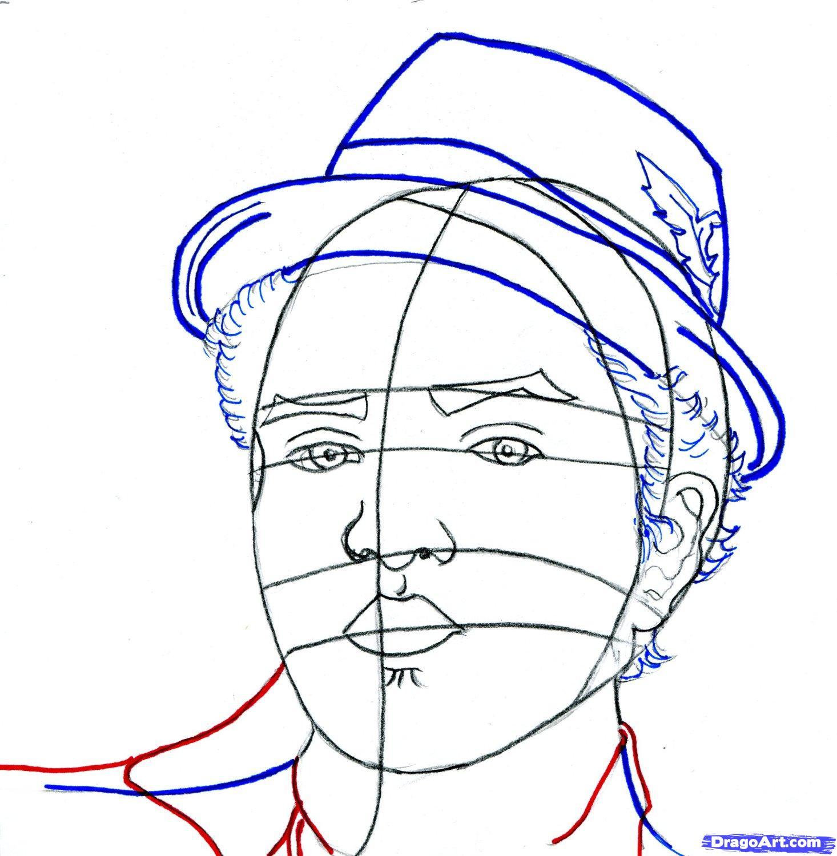 Рисуем портрет Бруно Марс - шаг 8