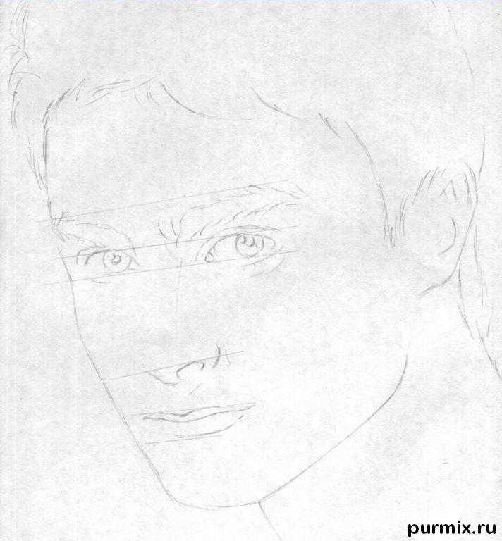 Рисуем портрет Дэниела Рэдклиффа на бумаге шаг за шагом