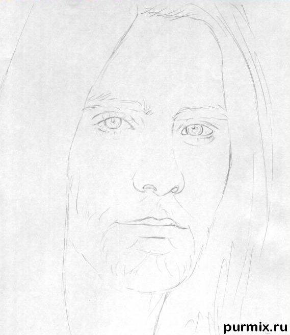 Рисуем портрет Джареда Лето простым - шаг 1