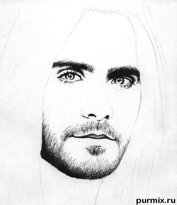 Рисуем портрет Джареда Лето простым - шаг 2