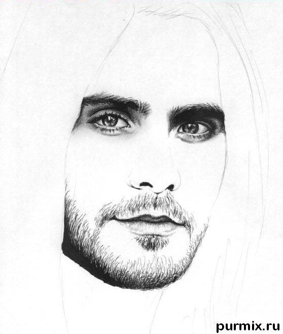Рисуем портрет Джареда Лето простым - шаг 3