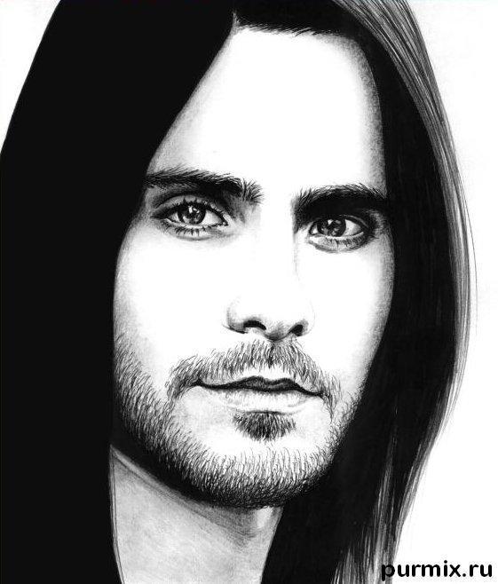 Как нарисовать портрет Джареда Лето простым карандашом