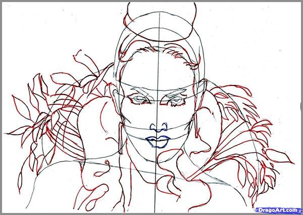 Рисуем  портрет Дженифер Лопес