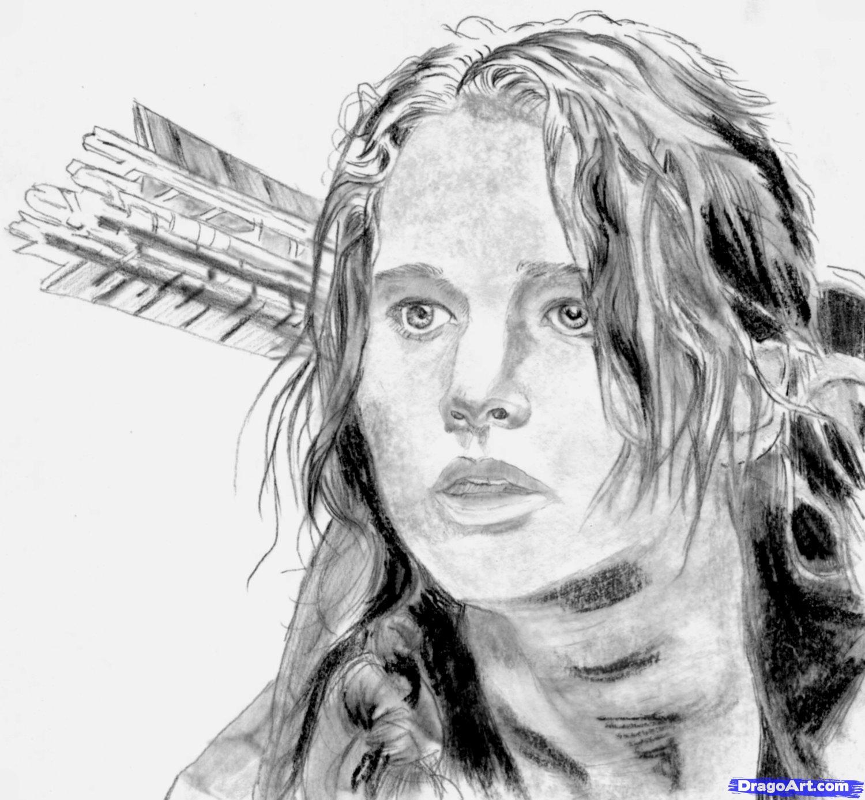 Рисуем портрет Дженнифер Лоуренс из Голодных игр
