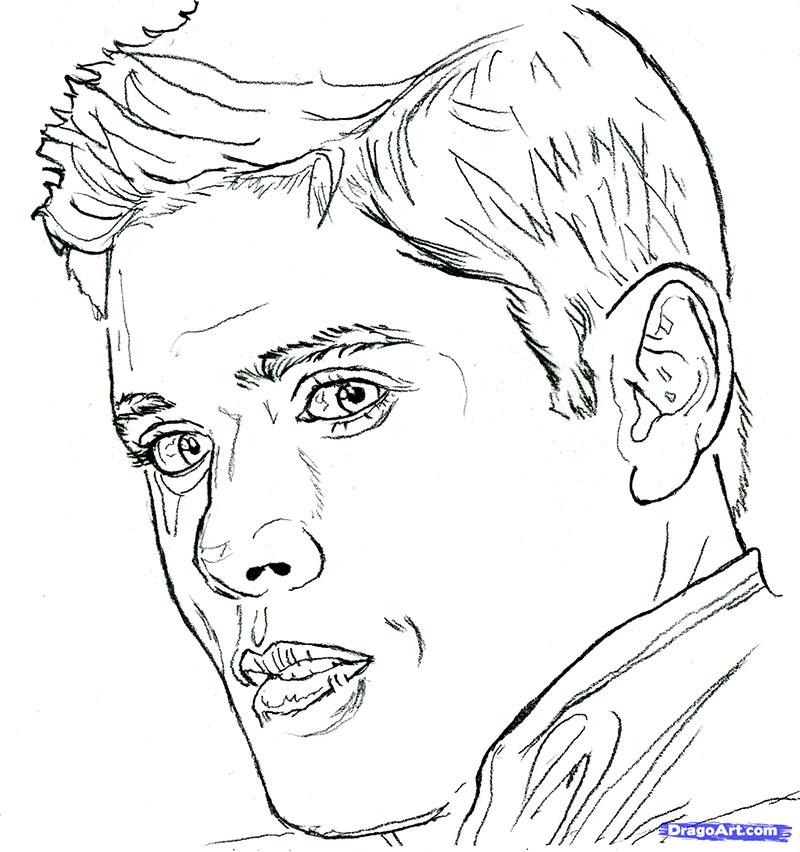 Как нарисовать портрет Дженсена Эклза карандашом поэтапно