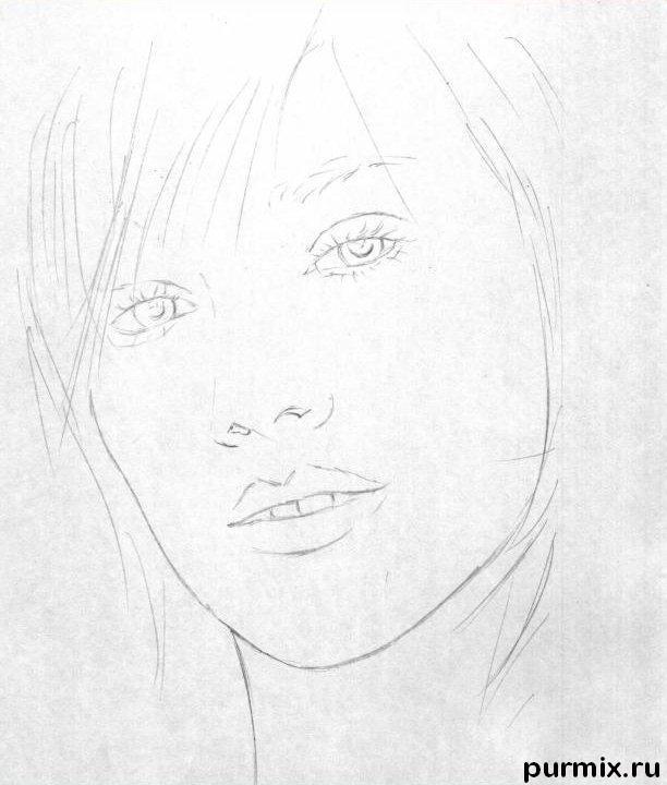 Рисуем портрет Хилари Дафф - шаг 1