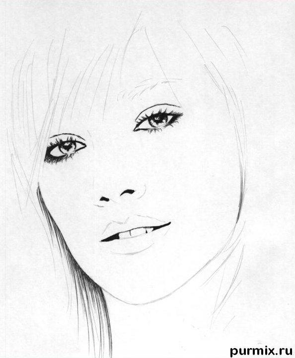 Рисуем портрет Хилари Дафф - шаг 2