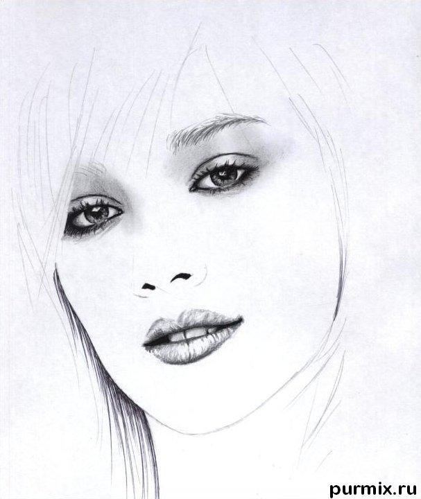 Рисуем портрет Хилари Дафф - шаг 3