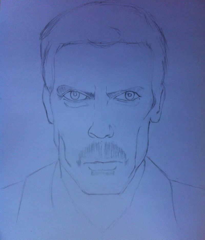 Рисуем портрет Хью Лори (Доктор Хаус)
