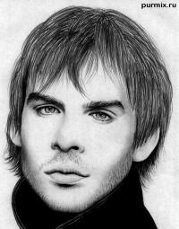 Фото портрет Йена Сомерхолдера карандашом