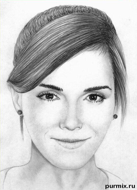 Рисуем портрет Эммы Уотсон простым