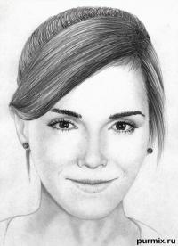 Фото портрет Эммы Уотсон простым карандашом