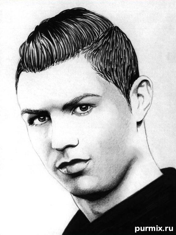 Рисуем портрет Криштиану Роналду простым