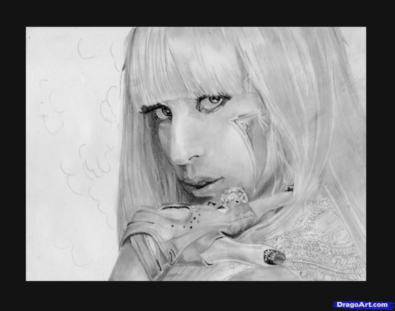 Рисуем портрет Леди Гага - шаг 8