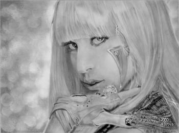 Как нарисовать портрет Леди Гага карандашом поэтапно