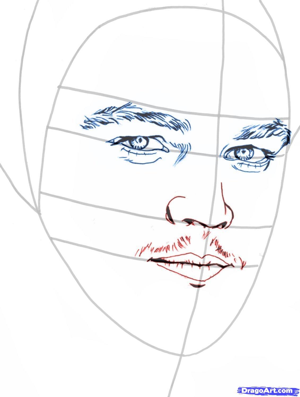Рисуем портрет Леонардо Ди Каприо   для начинающих - шаг 6