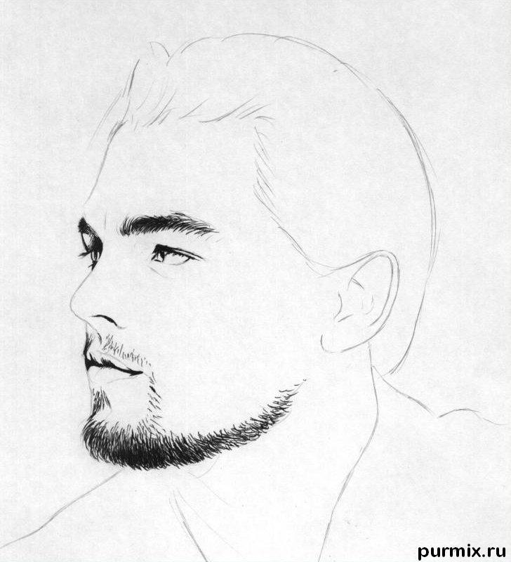 Рисуем портрет Леонардо ДиКаприо - шаг 2
