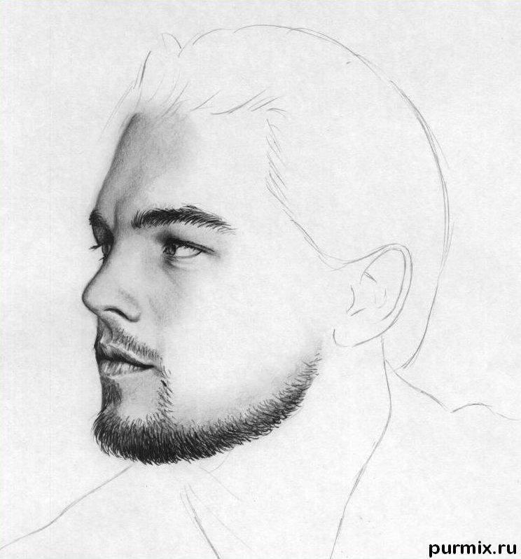 Рисуем портрет Леонардо ДиКаприо - шаг 5