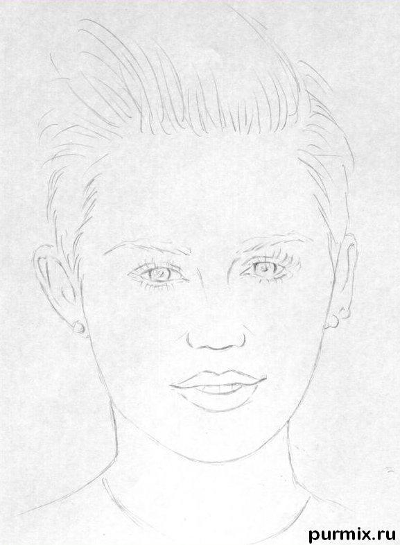 Рисуем портрет Майли Сайрус простым