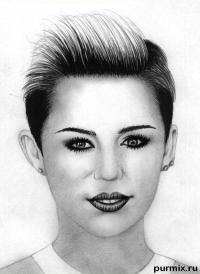 Фото портрет Майли Сайрус простым карандашом