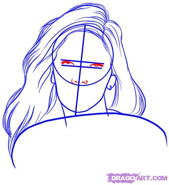 Рисуем портрет Меган Фокс - шаг 3