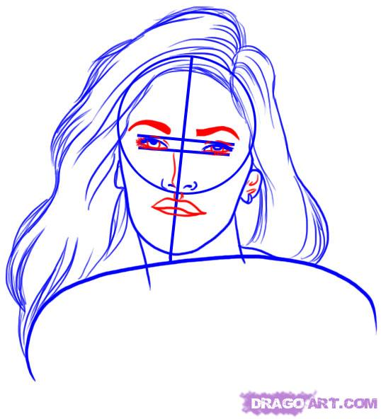 Рисуем портрет Меган Фокс - шаг 4