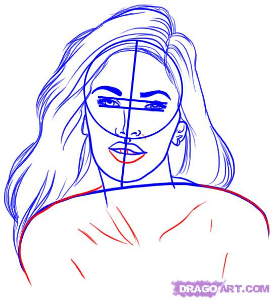 Рисуем портрет Меган Фокс - шаг 5