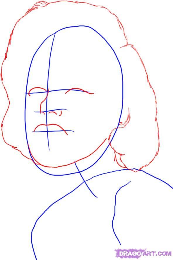 Рисуем портрет Мэрилин Монро - шаг 2