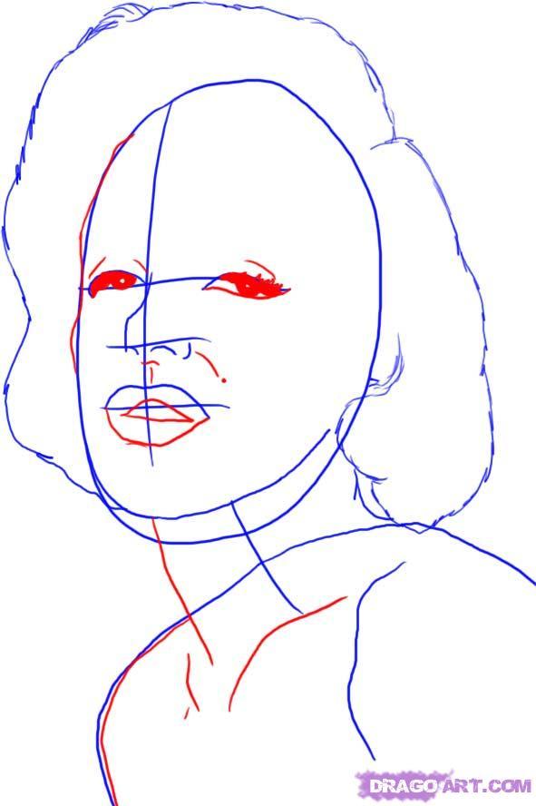 Рисуем портрет Мэрилин Монро - шаг 3