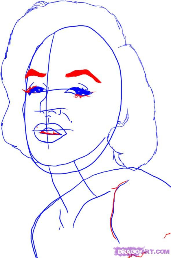 Рисуем портрет Мэрилин Монро - шаг 4