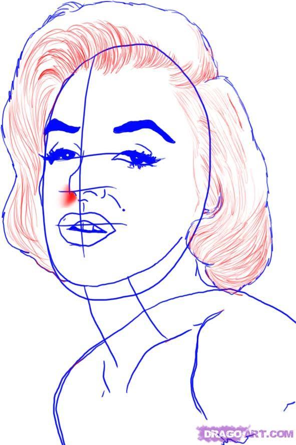 Рисуем портрет Мэрилин Монро - шаг 5
