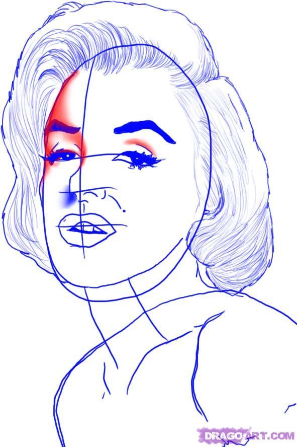 Рисуем портрет Мэрилин Монро - шаг 6