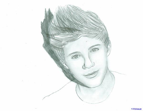 Как нарисовать портрет Найла Хорана из поп-группы One Direction карандашом поэтапно