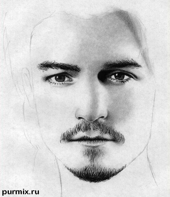 Рисуем портрет Орландо Блума на бумаге