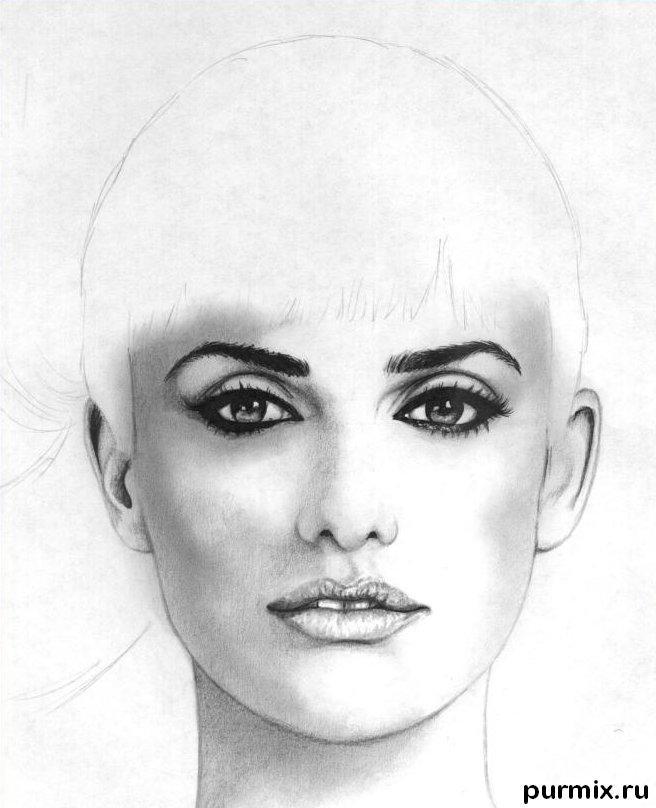 Рисуем портрет Пенелопы Крус простым  на бумаге