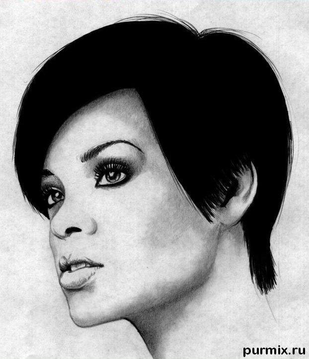 Рисуем портрет Рианны простым  на бумаге