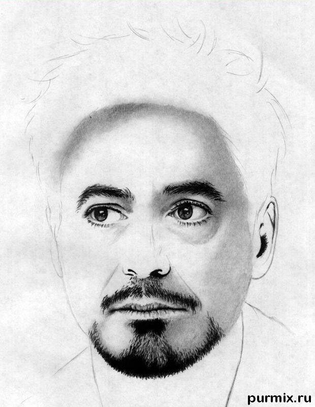 Рисуем портрет Роберта Дауни мл. простым