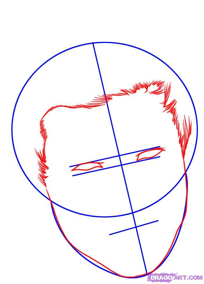 Рисуем портрет Тэйлора Лотнера - шаг 2