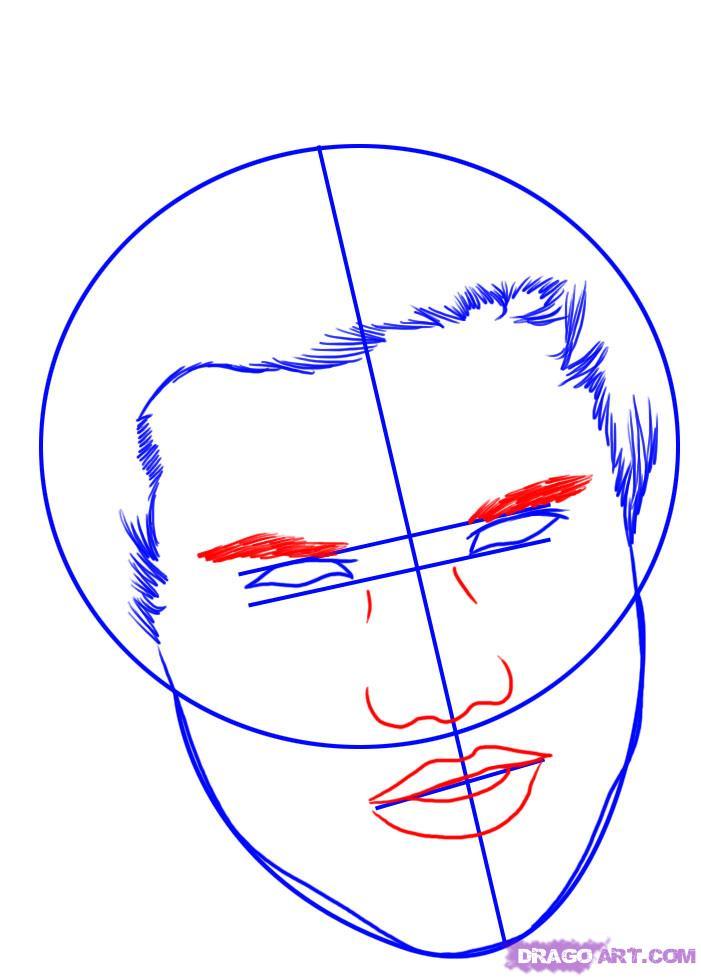 Рисуем портрет Тэйлора Лотнера - шаг 3