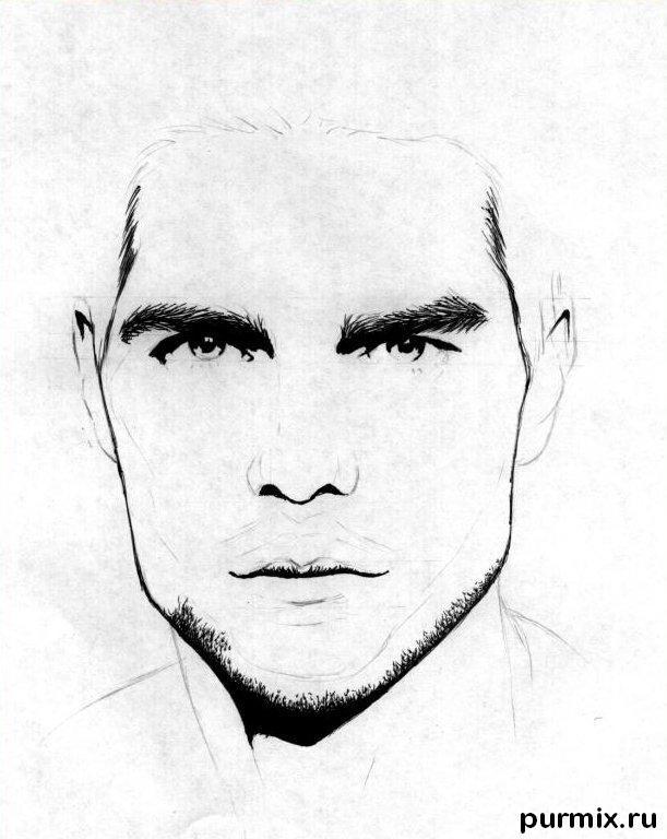 Рисуем портрет Тома Круз простым  на бумаге