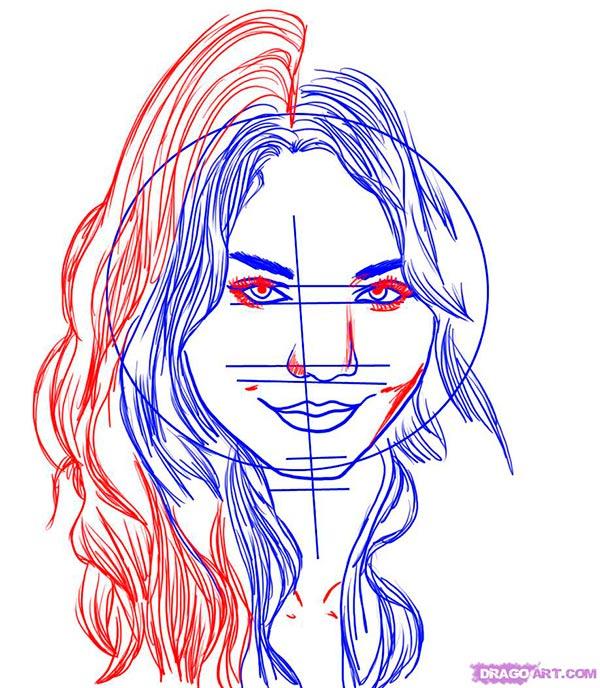 Рисуем портрет  Ванессы Хадженс