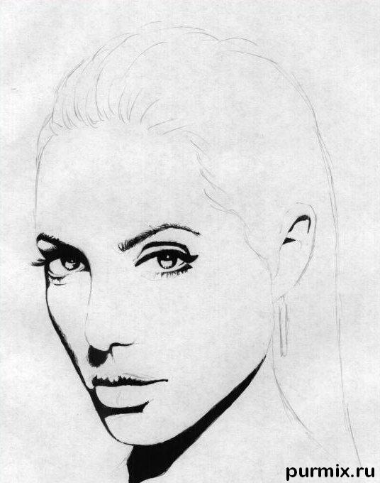 Рисуем Анджелину Джоли  и ручкой - шаг 2