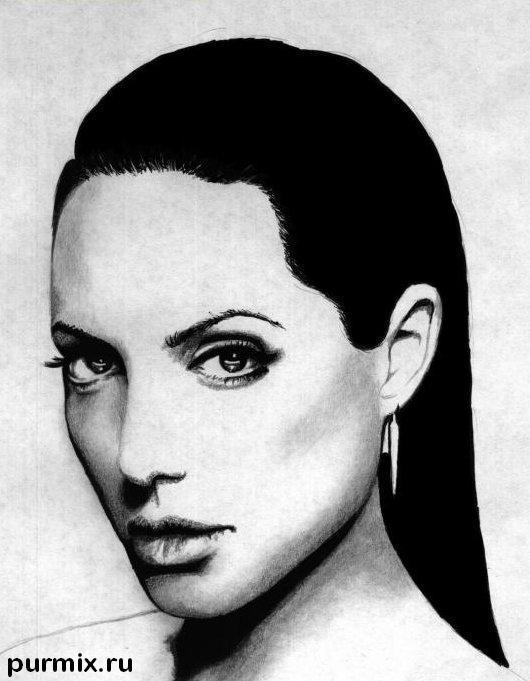 Рисуем Анджелину Джоли  и ручкой - шаг 5