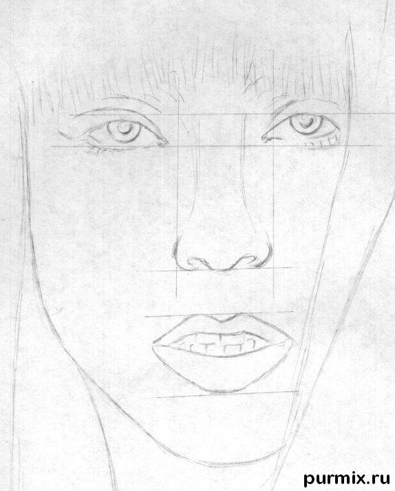Рисуем портрет Леди Гага - шаг 2