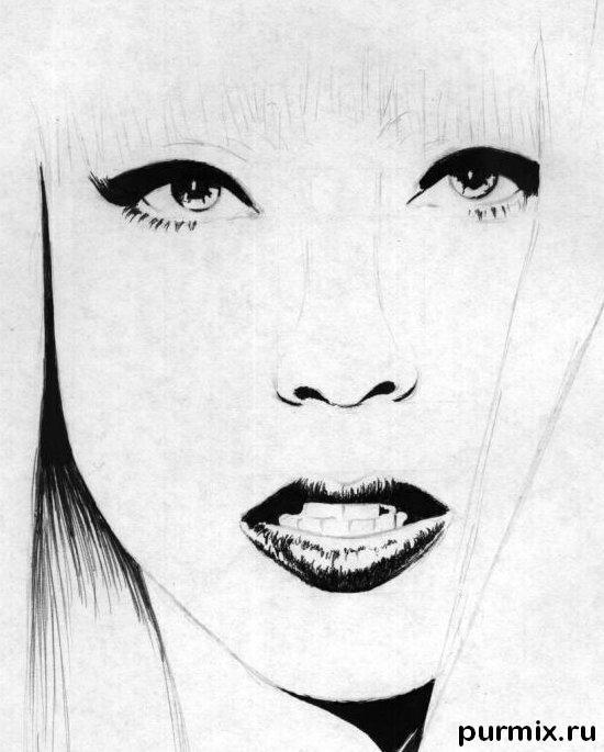 Рисуем портрет Леди Гага - шаг 3