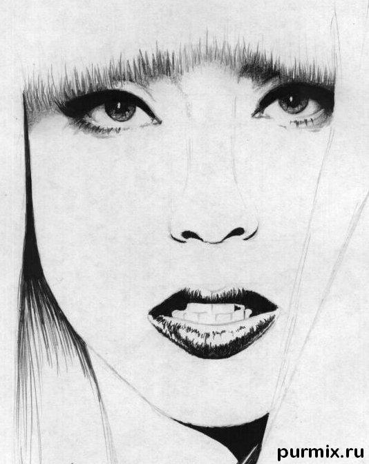 Рисуем портрет Леди Гага - шаг 4