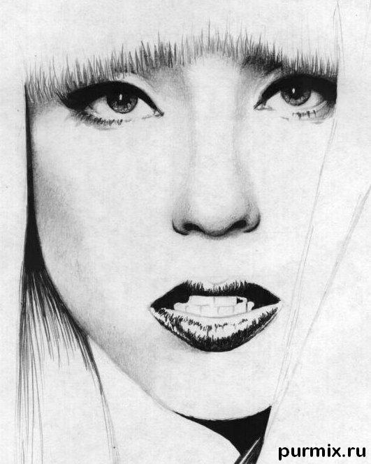 Рисуем портрет Леди Гага - шаг 5