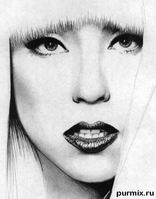 Рисуем портрет Леди Гага - шаг 6